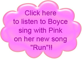 Boyce singing with Pink